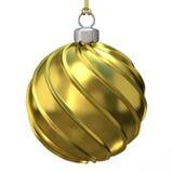 Gouden Kerstmisbal 3d geef terug Stock Foto's