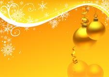 Gouden Kerstmisbal en sneeuw bloemen Stock Afbeelding