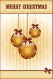 Gouden Kerstmisballen en bogen Stock Fotografie