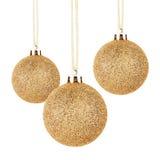 Gouden Kerstmisballen met lint Royalty-vrije Stock Afbeelding