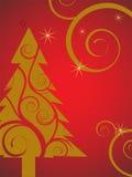 Gouden Kerstmisboom Stock Afbeelding