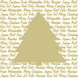 Gouden Kerstmisboom op Kerstmiswensen Royalty-vrije Stock Afbeeldingen