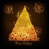 Gouden Kerstmisboom voor Vrolijke Kerstmisviering Stock Afbeeldingen
