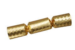 Gouden Kerstmiscracker Royalty-vrije Stock Foto's