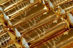 Gouden Kerstmiscrackers Royalty-vrije Stock Fotografie
