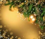 Gouden Kerstmiskaart Royalty-vrije Stock Fotografie