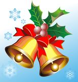 Gouden Kerstmisklokken Stock Afbeelding