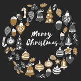 Gouden Kerstmiskroon met Geïsoleerde Kerstmisklokken, sneeuwvlokken, Vrolijke Kerstmis van de suikergoedhulst heel en Gelukkig Ni stock illustratie