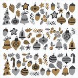 Gouden Kerstmispatronen met Geïsoleerde Kerstmisklokken, sneeuwvlokken, Vrolijke Kerstmis van de suikergoedhulst heel en Gelukkig stock illustratie
