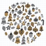 Gouden Kerstmispatronen met Geïsoleerde Kerstmisklokken, sneeuwvlokken, Vrolijke Kerstmis van de suikergoedhulst heel en Gelukkig vector illustratie