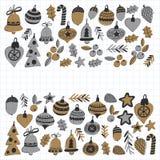Gouden Kerstmispatronen met Geïsoleerde Kerstmisklokken, sneeuwvlokken, Vrolijke Kerstmis van de suikergoedhulst heel en Gelukkig royalty-vrije illustratie