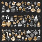 Gouden Kerstmispatroon met Geïsoleerde Kerstmisklokken, sneeuwvlokken, Vrolijke Kerstmis van de suikergoedhulst heel en Gelukkig  vector illustratie