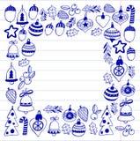 Gouden Kerstmispatroon met Geïsoleerde Kerstmisklokken, sneeuwvlokken, Vrolijke Kerstmis van de suikergoedhulst heel en Gelukkig  royalty-vrije illustratie
