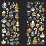 Gouden Kerstmispatroon voor banners met Kerstmisklokken, sneeuwvlokken, Vrolijke Kerstmis van de suikergoedhulst heel en Gelukkig royalty-vrije illustratie
