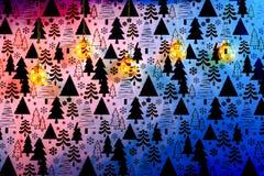 Gouden Kerstmissnuisterijen op gekleurde Kerstmisachtergrond royalty-vrije stock afbeelding