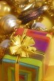 Gouden Kerstmisstilleven royalty-vrije stock foto