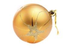 Gouden Kerstmisstuk speelgoed Royalty-vrije Stock Afbeeldingen