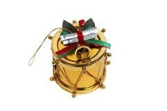 Gouden Kerstmistrommel royalty-vrije stock afbeeldingen