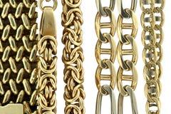 Gouden kettingen Stock Afbeelding