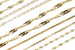 Gouden kettingen royalty-vrije stock foto's