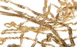 Gouden kettingen stock foto