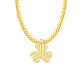 Gouden Kettingsjuwelen whith Drie Bladklaver Vector vector illustratie
