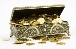 Gouden kist en gouden muntstukken Stock Fotografie