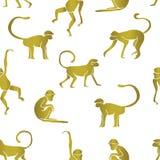 Gouden kleur van aap vector illustratie