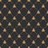 Gouden kleur van het kerstboom de naadloze patroon op zwarte achtergrond voor productbevordering Stock Afbeeldingen