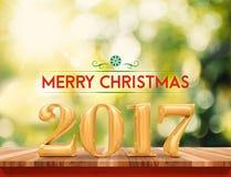 Gouden kleuren 2017 Gelukkige Nieuwjaar & x28; 3d rendering& x29; op bruin houten Ta Stock Afbeeldingen