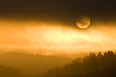 Gouden kleuren van nevelige zonsondergang Stock Afbeelding