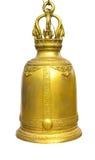 Gouden Klok op een geïsoleerde witte achtergrond, Klokken in Tempel Thailan Stock Foto