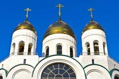 Gouden koepels van Christus de Verlosser. Kaliningrad, Rusland Stock Afbeelding