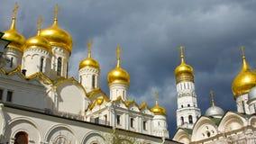 Gouden Koepels van het Kremlin in Rusland Royalty-vrije Stock Foto