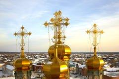 Gouden koepels van Orthodox Royalty-vrije Stock Fotografie