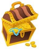 Gouden koffer met schat, volledig van muntstukken, Royalty-vrije Stock Foto's