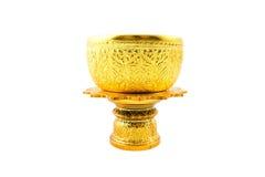 Gouden Kom en Dienblad met Voetstuk Stock Fotografie
