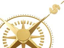 Gouden kompas Stock Foto's