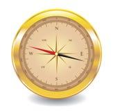 Gouden kompas dat op wit wordt geïsoleerdt vector illustratie