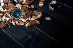 Gouden kompas gezet op droge bladeren op houten retro zwarte lijst royalty-vrije stock foto's