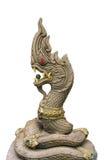 Gouden Koning het standbeeld van van Nagas (Draak) op witte achtergrond royalty-vrije stock afbeeldingen