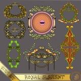 Gouden koninklijk de banneretiket van het luxeelement Stock Afbeeldingen