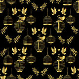 Gouden Kooi Naadloos patroon Stock Fotografie