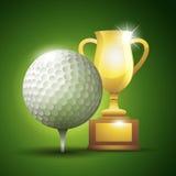 Gouden kop met een golfbal Vector illustratie Stock Afbeelding