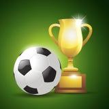 Gouden kop met een voetbalbal Vector illustratie Stock Fotografie
