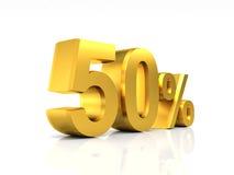 Gouden korting 50 Royalty-vrije Stock Foto's