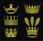 Gouden kronen Stock Afbeelding
