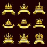 Gouden kronen en de vectorreeks van de lintbanner Royalty-vrije Stock Fotografie