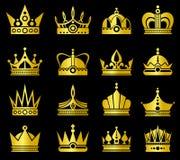 Gouden kronen vectorreeks Royalty-vrije Stock Afbeelding