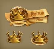 Gouden kronenpictogrammen Stock Afbeelding
